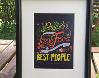 Julia Child Hand-Lettered Foodie Quote on Plum Unframed 5x7 Art Print