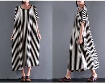 Women asymmetrical tunic dress summer dress loose cotton dress casual dress vertical stripes long dress