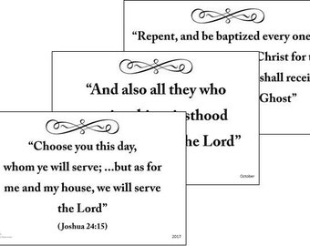 2017 Primary Monthly Scripture 13-POSTER PACK (B&W horizontal) LDS - Choose the Right