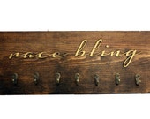 Rustic Race Medal Holder - Race Bling - 3D wooden sign with hooks to hold race medals - Gift for Runners or Triathletes - Rustic Decor