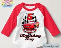 15% OFF Lightning McQueen Birthday shirt/Lightning McQueen Cars Disney  t-shirt/Birthday boy or girl /Personalized Cars Birthday shirt/157