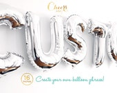 """Year End SALE!! 16"""" CUSTOM SILVER letter A to Z- create your own phrase foil balloon - party decor - birthday - bridal/baby shower cheersnco"""