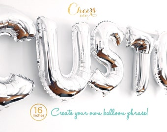 "SALE!! 16"" CUSTOM SILVER letter A to Z- create your own phrase foil balloon - party decor - birthday - bridal/baby shower cheersnco"