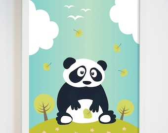Panda bear art etsy for Panda bear decor