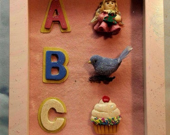 "Shadowbox Art Handmade Signed ""ABC's"""