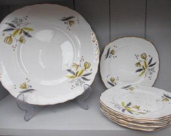 Vintage Colclough Stardust Sandwich Plate and Six Side Tea Plates