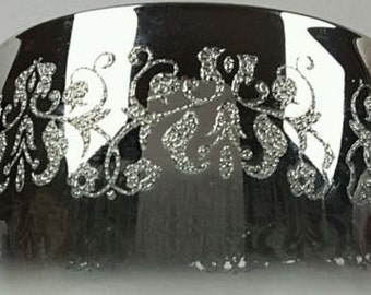 1950's Silver Fade Embossed Glassware-Roly Poly-designed by Dorothy Thorpe