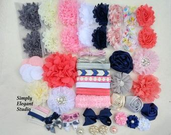 Navy Blue Headband Supply Kit, Baby Shower Headband Kit, Infant Headband Kit, DIY Headband, Kit #238