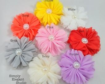 Ballerina Chiffon Flower with Pearl, Headband Flower, DIY Craft Flower Supply, Wholesale Flower