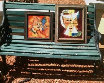 2 Haltman Ceramic Tile Art Plaque Queen and  Man Mid Cent Mod 1950s Retired Tile Art