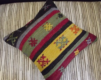 "Multi Color Stripe Designs Embroidery Turkish Kilim Pillow Covers  16"" x 16"""