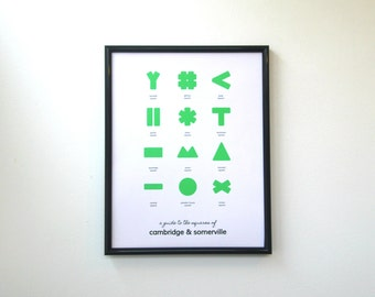 Guide to the Squares of Cambridge and Somerville Map - Camberville Boston Map Print