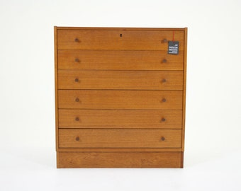 D013 Danish Mid Century Modern Teak Highboy Dresser
