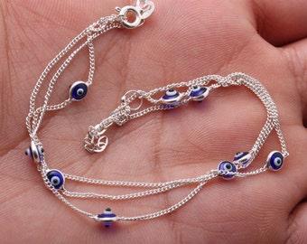 Turkish Handmade Jewelry  925 Sterling Silver 3 Lines Nazar Evil Eye Bracelet