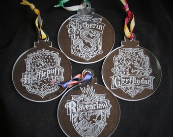 Deluxe Harry Potter Hogwarts Hand Engraved Christmas Decorations, Gryffindor, Hufflepuff, Slytherin and Ravenclaw crest ornaments