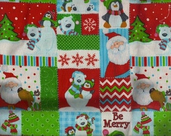 Holiday Patchwork Be Merry Santa Snowman Christmas Tree Snowflake Fabric Crafting