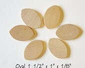 1.5 Inch Wood Ovals craft wood tile lot of 50 pieces