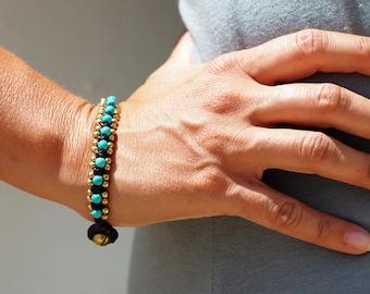 Turquoise Macrame Bracelet // Bracelet for Women // Turquoise  Beads Bracelet // Beadwork Hippie Jewelry Bracelet // Gypsy Jewelry Bracelet