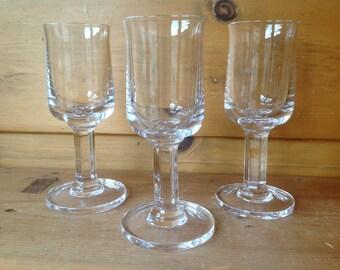 Vintage Dansk Crystal Wine Glasses Althea Octagon Cut Stem Heavy Set of 3 1960s