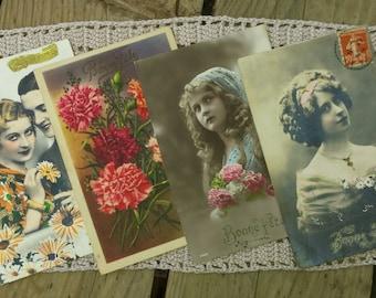 Lot of 4 cards postcards vintage