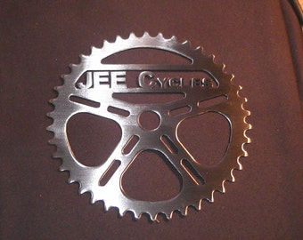 "Your Text in Real Steel! Personalized 8"" Bike Sprocket Metal Art Man Cave Decor!"