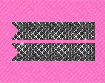 Scalloped rhinestone bow strips Jumbo size.