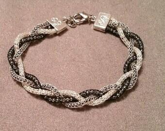 Braided Black, Silver, and Gun Metal Knit Chain Bracelet