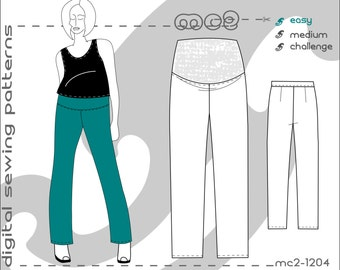 Maternity Trousers Pants (sizes: uk 10-20/ usa 6-16) Digital PDF Sewing Pattern for Women >mc2patterns< mc2-1204
