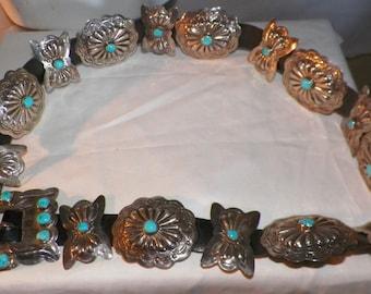Vintage Native American Sterling Silver Concho Belt