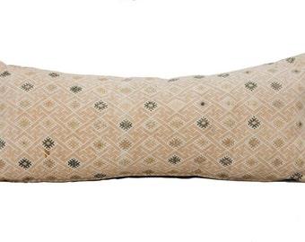 Vintage Embroidered Beige Cream Textile Pillow