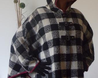 Tweed cape with hood.