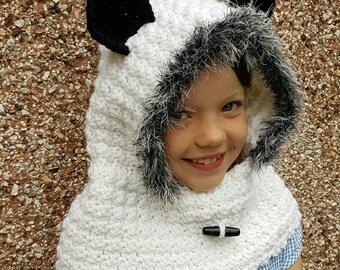 Panda hooded cowl, crochet panda hood, crochet hood with ears, snood, winter hat, pixie hood, white and black hood, children's hood, gift