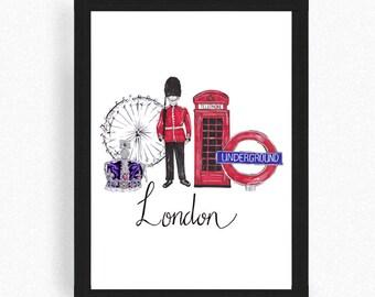 London print - London poster - London Art - london