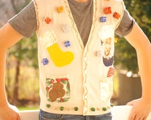 Ugly Christmas Vest - FREE SHIPPING - holiday sweater - cream sweater - stockings - holiday vest - ugly vest