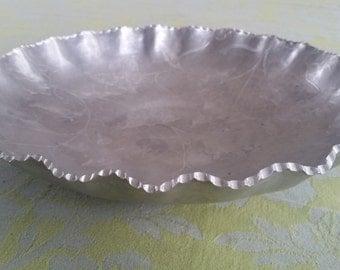 Vintage Aluminum Scalloped Edge Bowl