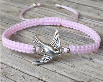 Bird Bracelet, Bird Anklet, Adjustable Macrame Friendship Bracelet, Dove Bracelet, Swallow Bracelet, Bird Jewelry, Gift for Her, Small Gift