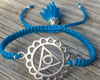Chakra Bracelet, Throat Chakra, Adjustable Cord Macrame Friendship Bracelet, Yoga Bracelet, Meditation Bracelet, Macrame Jewelry, Small Gift