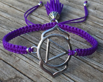Chakra Bracelet, Brow Chakra, Third Eye Chakra, Adjustable Cord Macrame Friendship Bracelet, Yoga Bracelet, Meditation Bracelet, Small Gift