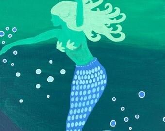 "Original Fine Art Giclee Print 11x14 ""Dancing Mermaid"""