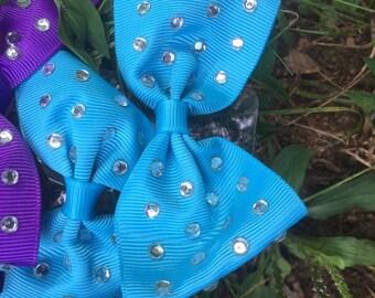 Small hair bows with rhinestones/ hair bow set