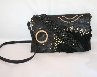 Handmade Leather black shoulder bag, Ibiza/GOA/gothic style