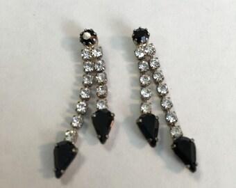 Vintage Clear and Black  Rhinestone Earrings