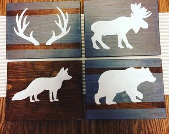 Rustic Woodland Decor Plaques Nursery Bedroom