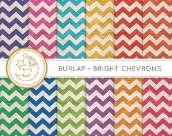 Bright Chevron Burlap Digital Paper: BRIGHT colorful CHEVRON BURLAP paper pack. Printable pattern paper. Instant download paper.