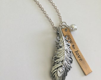Sow Love Feather Necklace, boho chic, feather jewelry, sow love, inspirational necklace