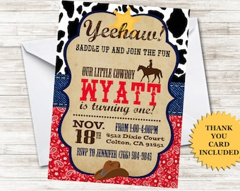 Cowboy Birthday Invitation First Invite 5x7 Digital Personalized Cow Print Sheriff ANY AGE