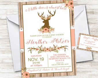 Deer Baby Shower Invitation Rustic Country Invite Girls Invitation 5x7  Digital Personalized