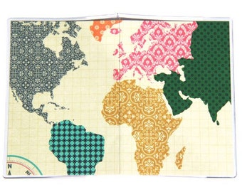 Passport Cover - Colorful Continents World Map. Vinyl Passport Holder. Compass. International Travel. Wanderlust.