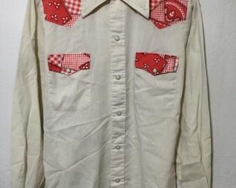 70's vintage western shirt bandana pearl snap 50/50 size M