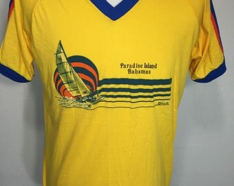 80's vintage striped v-neck t shirt paradise island bahamas mens